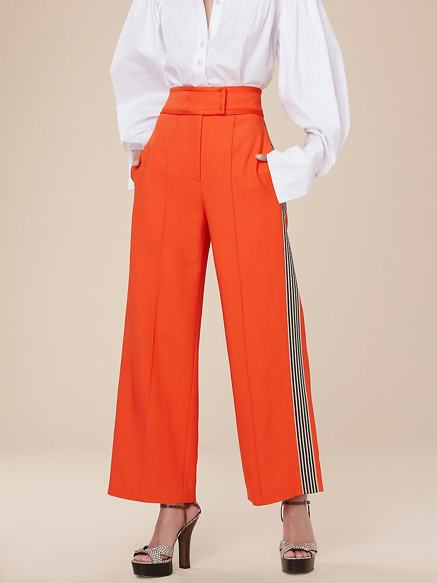 Wide Leg Pants in Tangerine by DVF