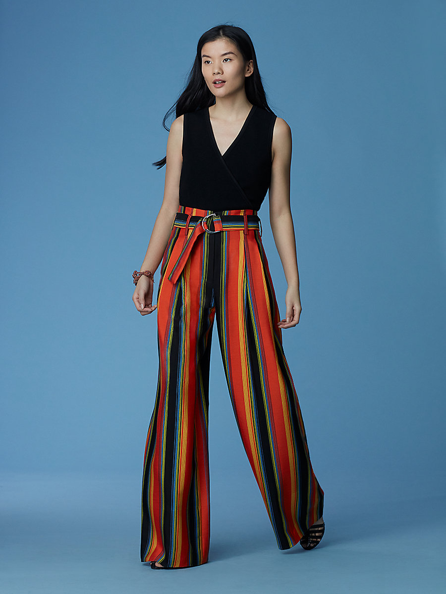 Wide Leg Belted Pants in Sussex Stripe Tangerine by DVF