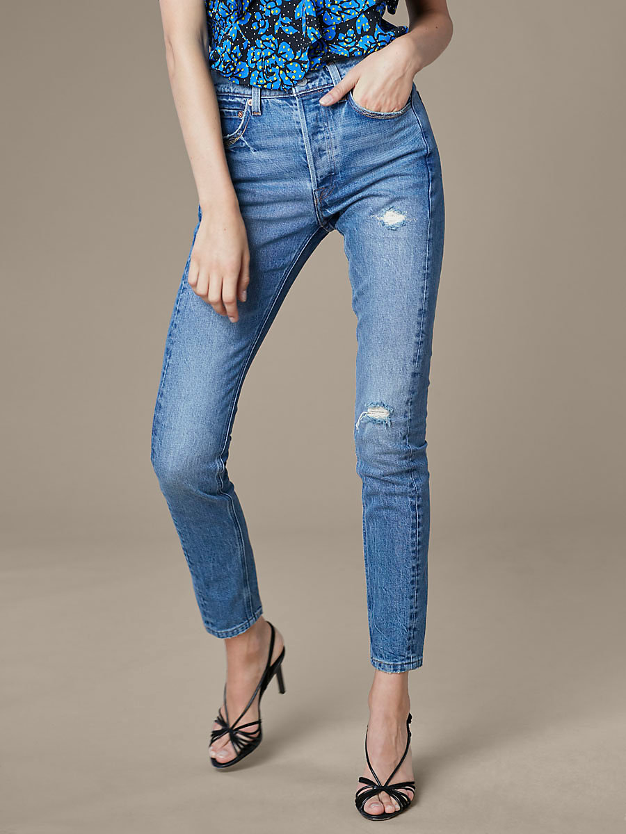 Levi's 501 Skinny Altered Jeans in Moody Blues by DVF