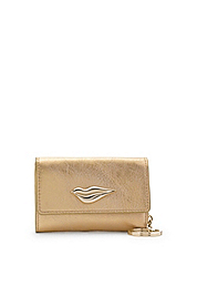 Lips Metallic Leather Card Case