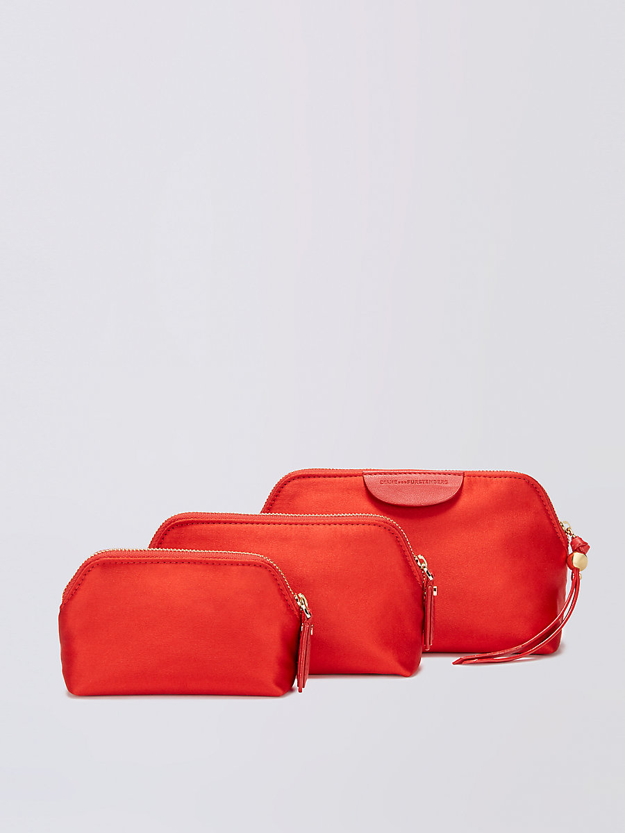 Satin Pouch Triplet Set in Rust by DVF
