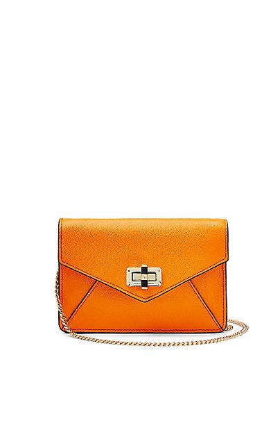 440 Gallery Bitsy Caviar Leather Mini Bag in Shocking Orange by DVF