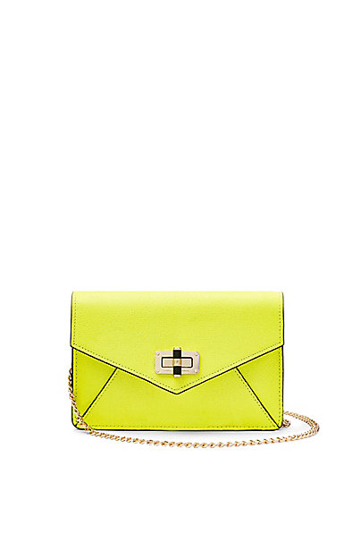 440 Gallery Bitsy Caviar Leather Mini Bag in Shocking Yellow by DVF