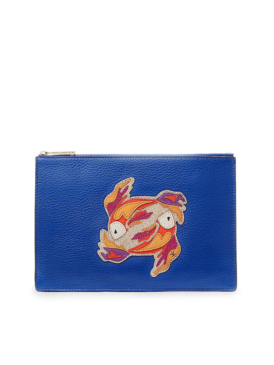 DVF Zodiac Leather Pouch in Pisces Lapis Shock by DVF