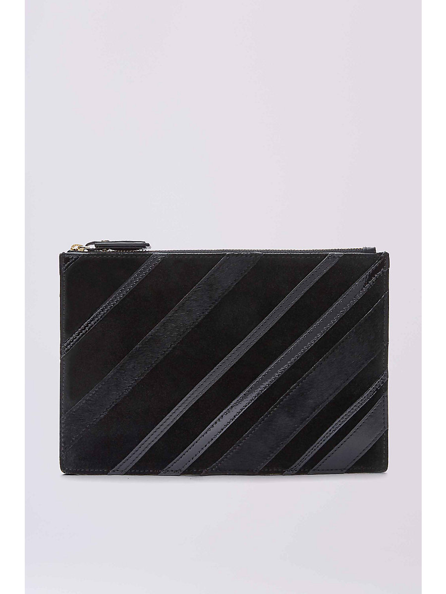 Zip Top Leather Pouch in Black Multi by DVF