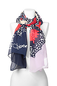 in Cheetah Floral Scarf Crimson