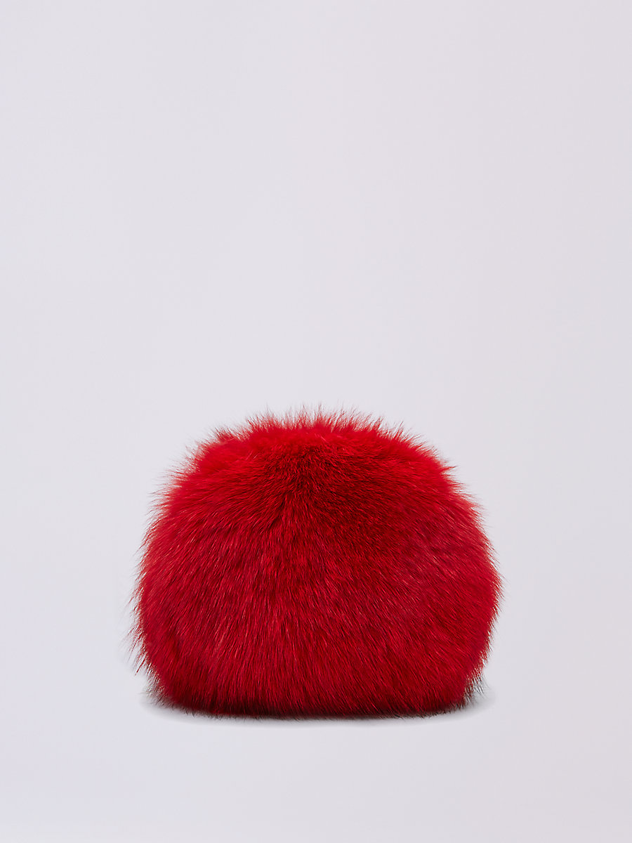 DVF Love Power Fox Puff Bag in Lacquer Red by DVF