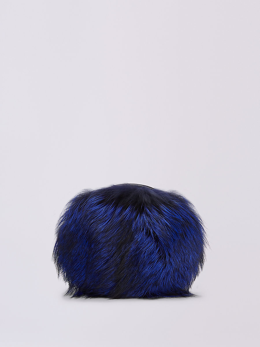 DVF LOVE POWER TIPPED FOX PUFF BAG in Cobalt by DVF