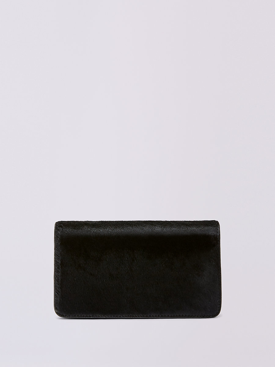 Calf Hair Phone Wallet in Black by DVF