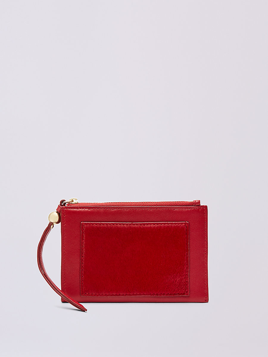 Leather Calf Hair Zip Card Case in Lacquer Red by DVF