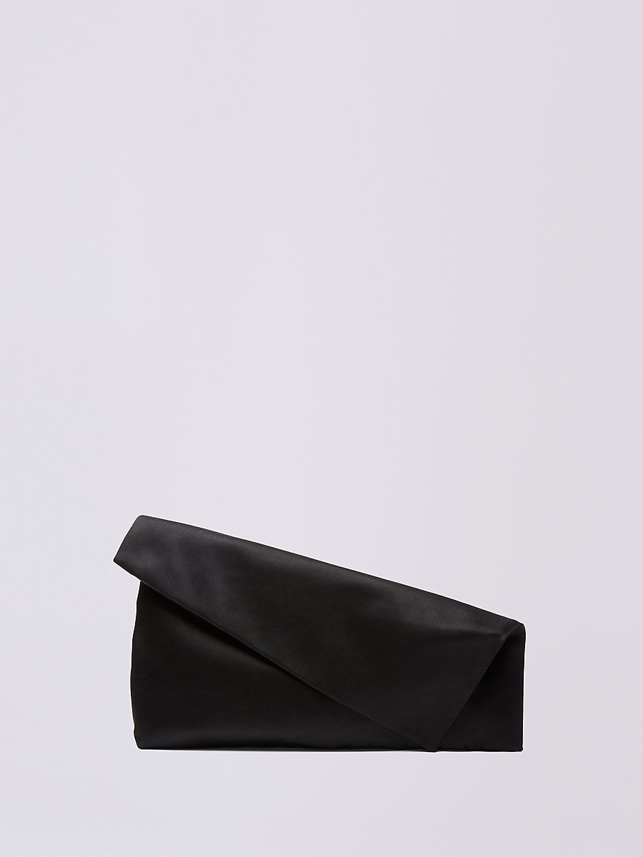 Satin Foldover Clutch in Black by DVF