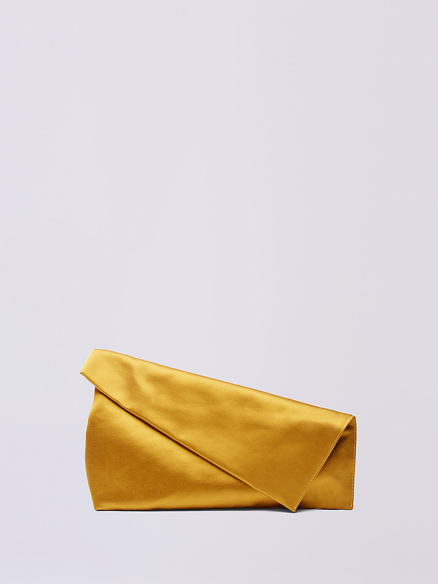 Satin Foldover Clutch in Honey Mustard by DVF