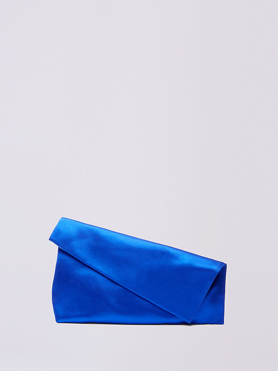 Satin Foldover Clutch in Lapis by DVF