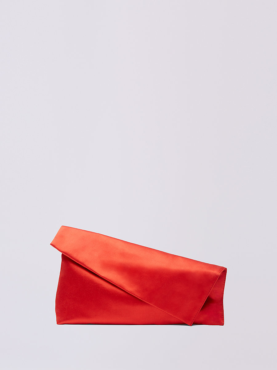 Satin Foldover Clutch in Rust by DVF