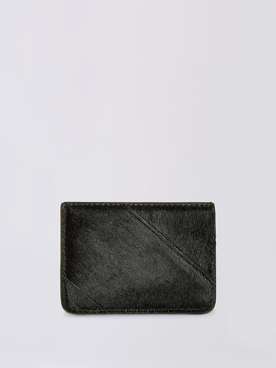 Calf Hair Tuxedo Card Case in Black by DVF