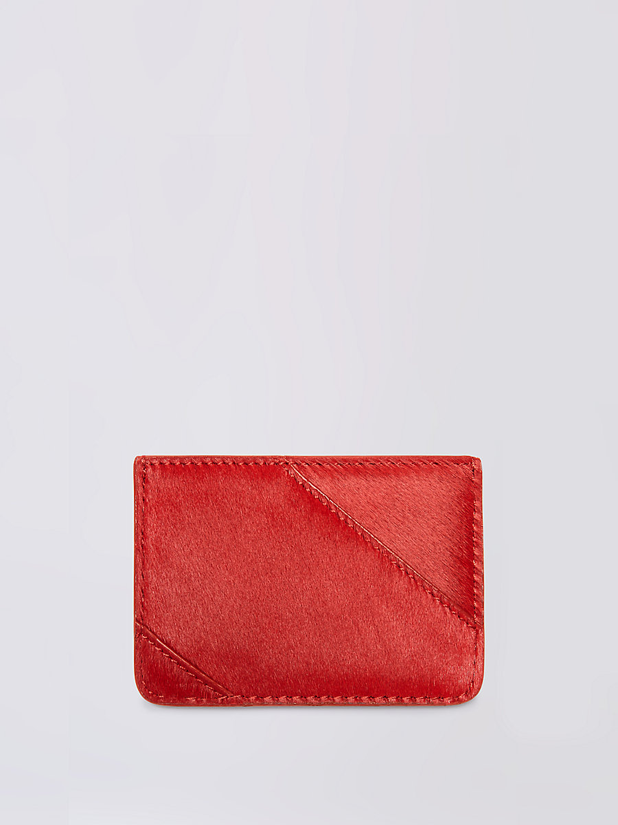 Calf Hair Tuxedo Card Case in Lacquer Red by DVF