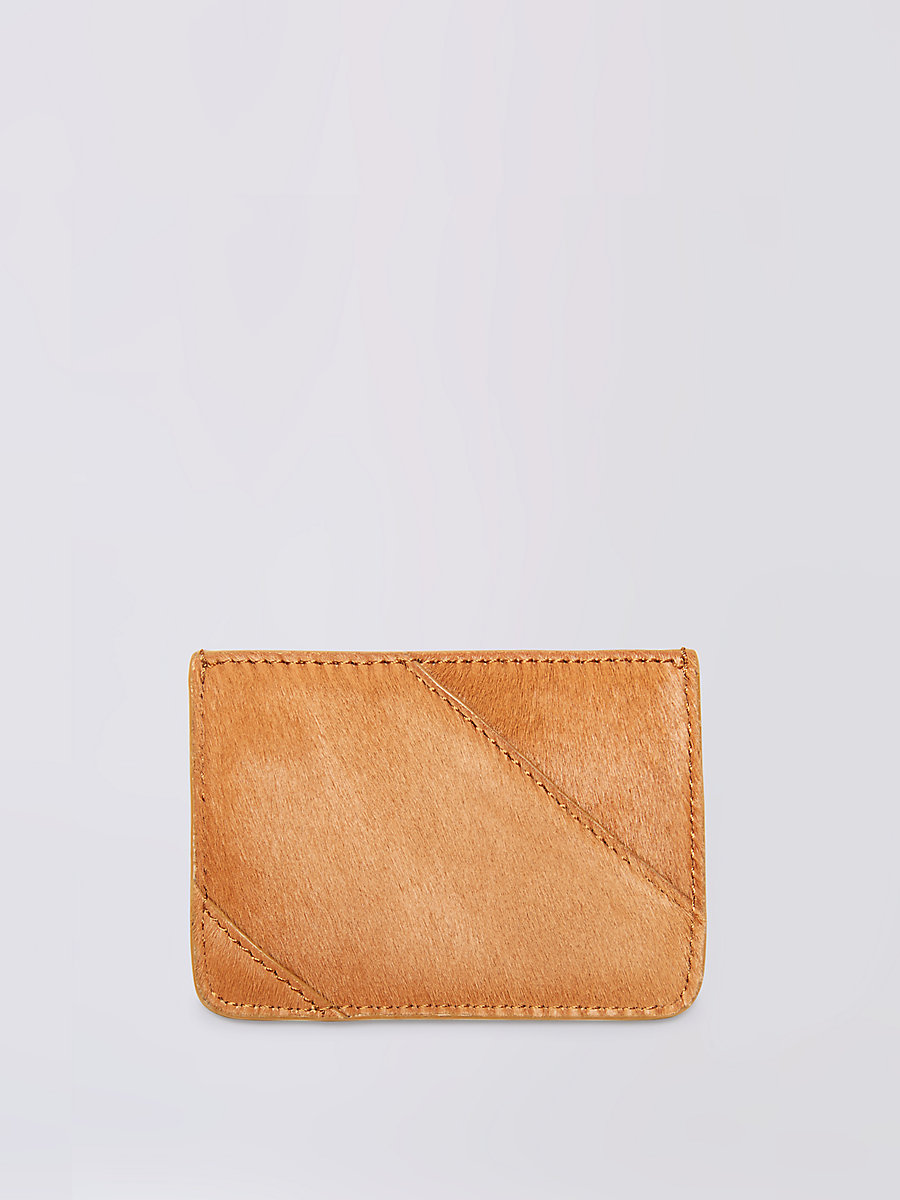 Calf Hair Tuxedo Card Case in Whiskey by DVF