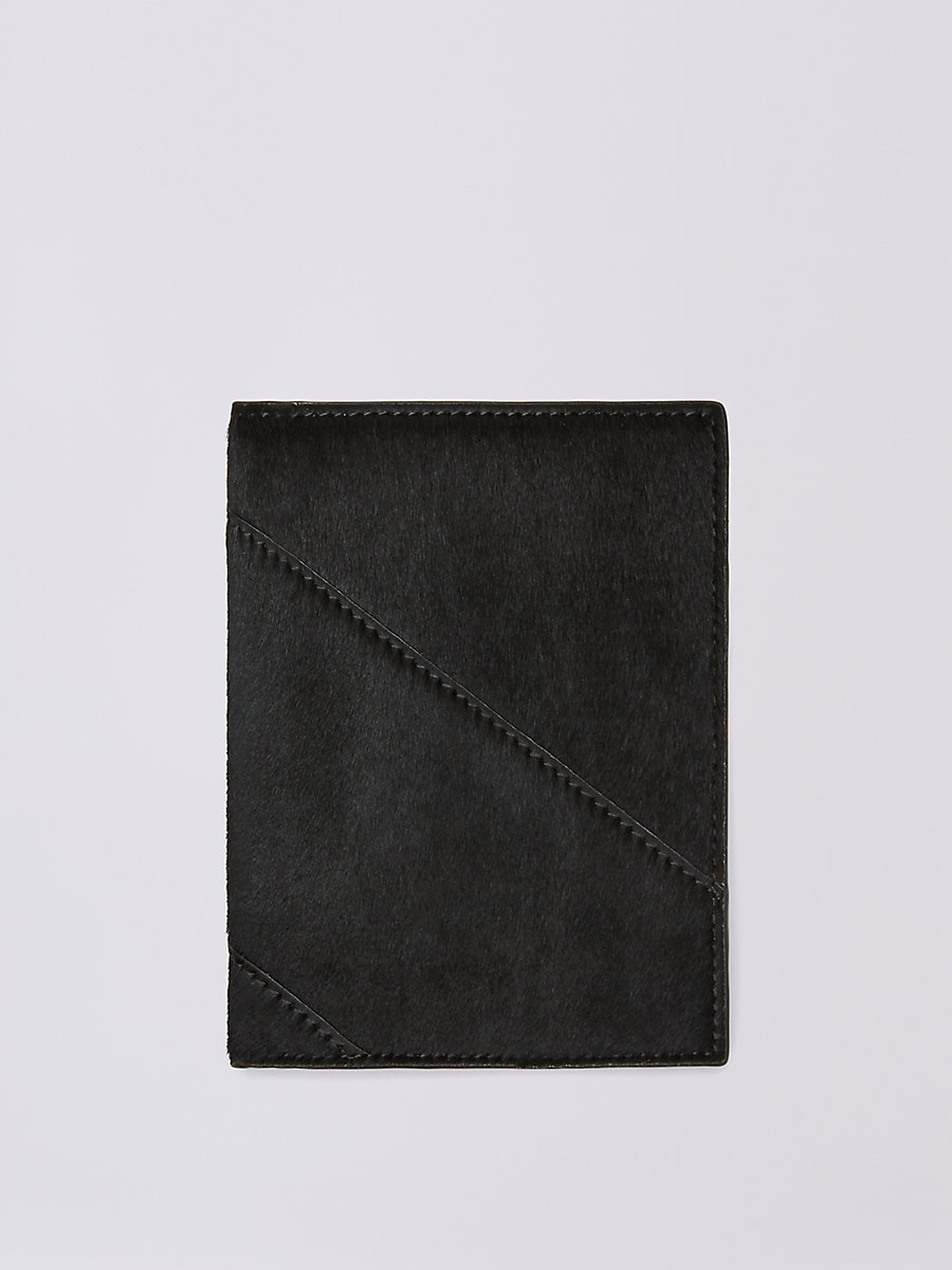 Calf Hair Passport Cover in Black by DVF