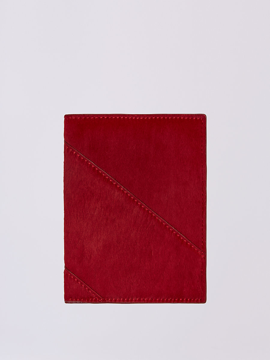 Calf Hair Passport Cover in Lacquer Red by DVF