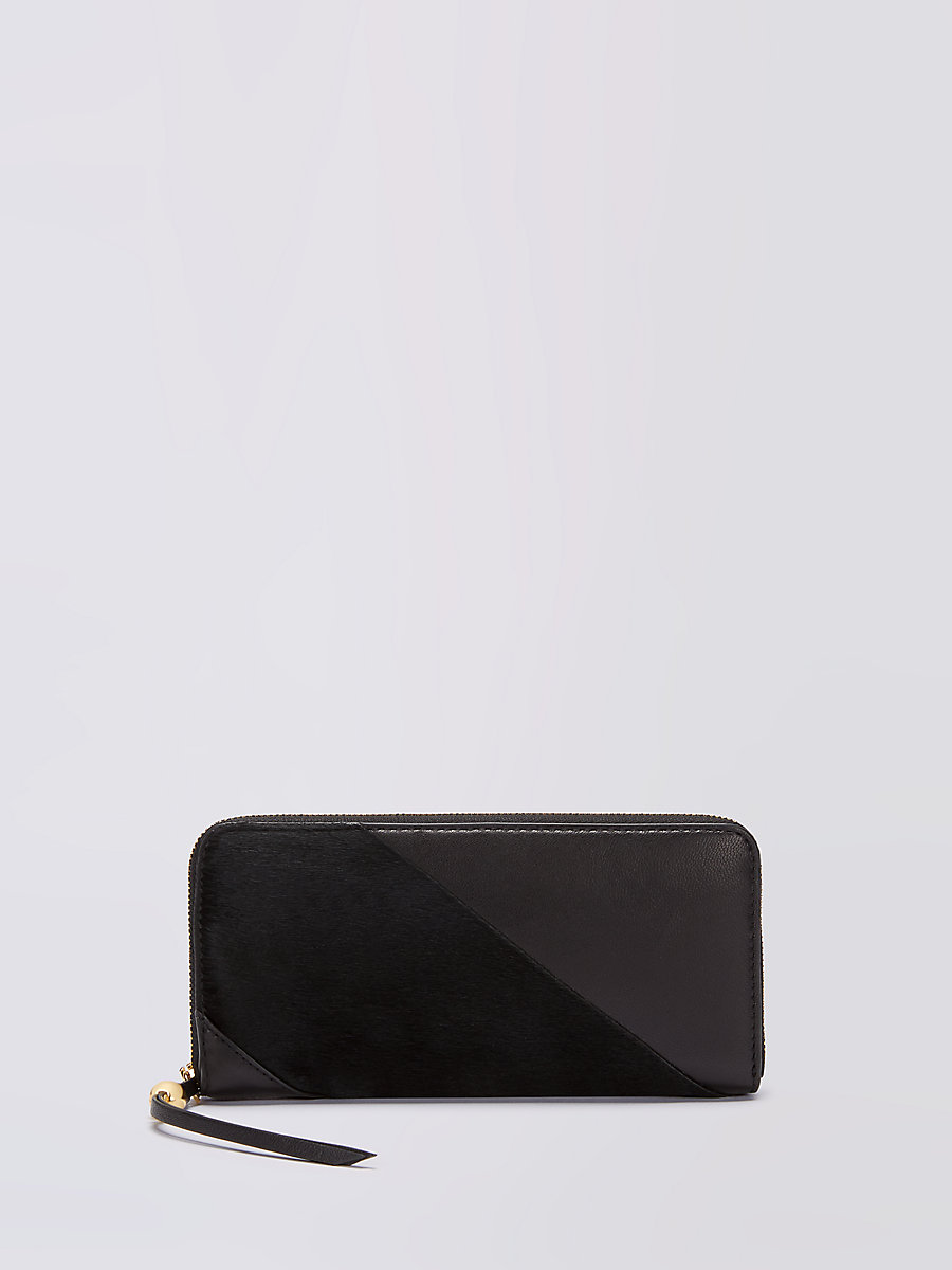 Leather and Calf Hair Zip Around Wallet in Black by DVF