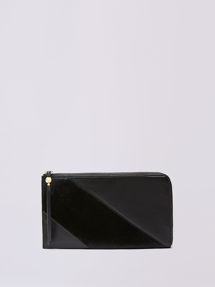 Calf Hair and Leather Travel Wallet in Black by DVF