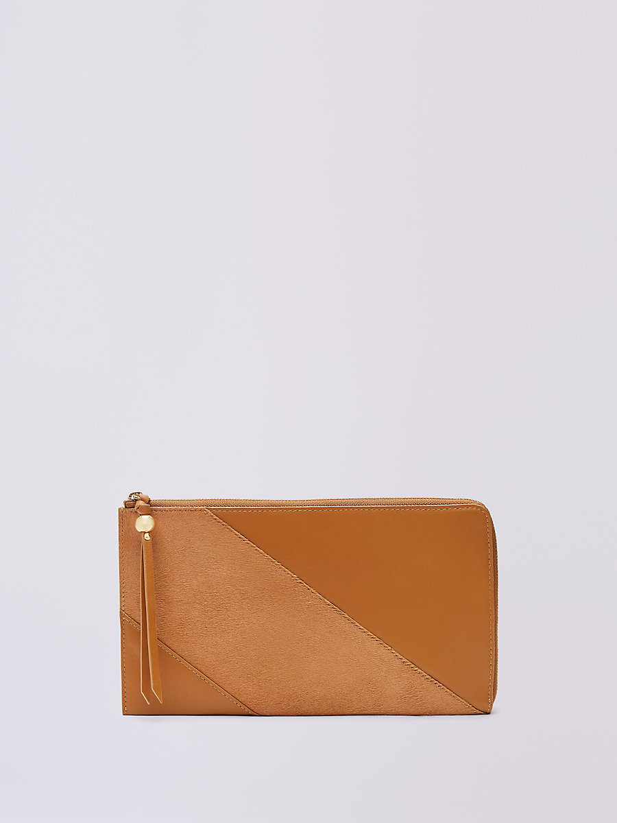 Calf Hair and Leather Travel Wallet in Whiskey by DVF
