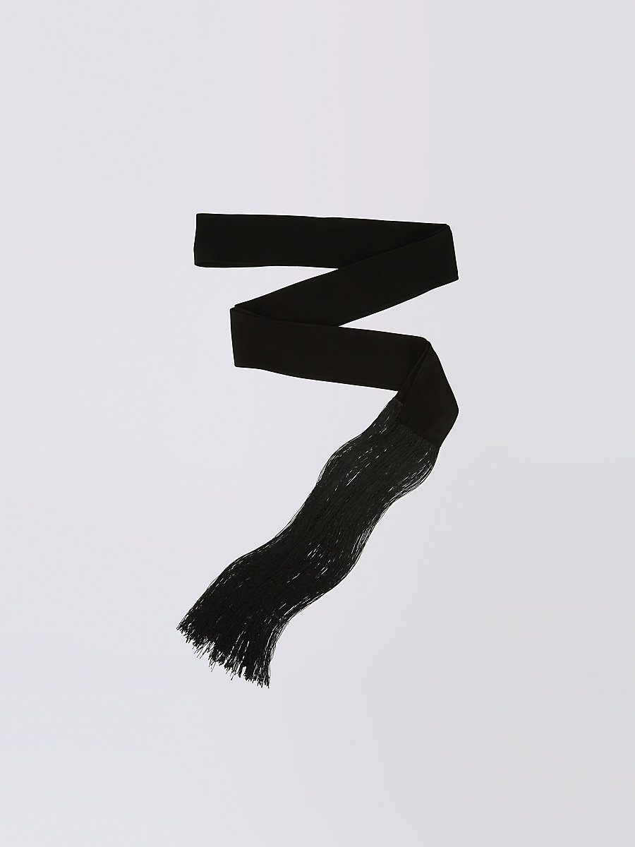 Skinny Fringe Scarf in Black by DVF