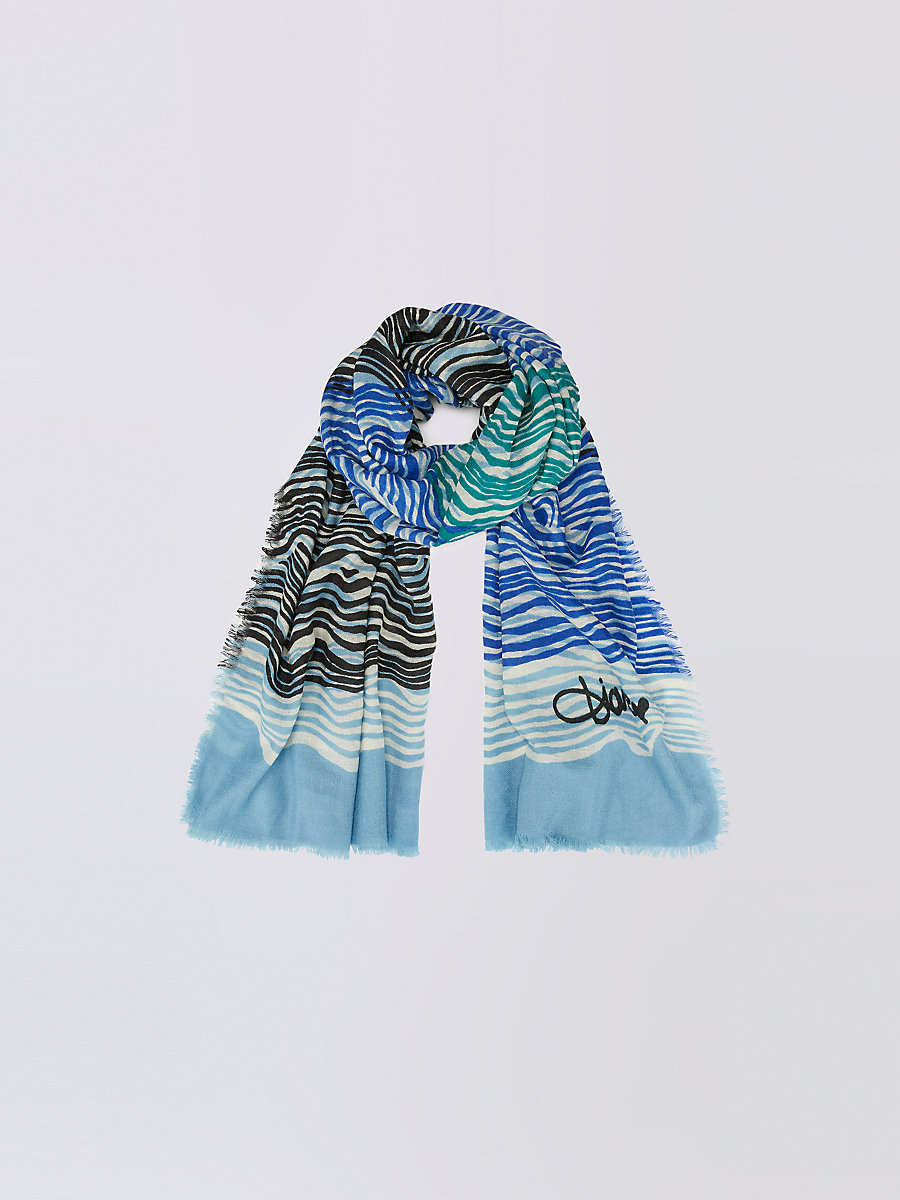 Kenley Cashmere Scarf in New Wave Blue Pearl Scarf by DVF