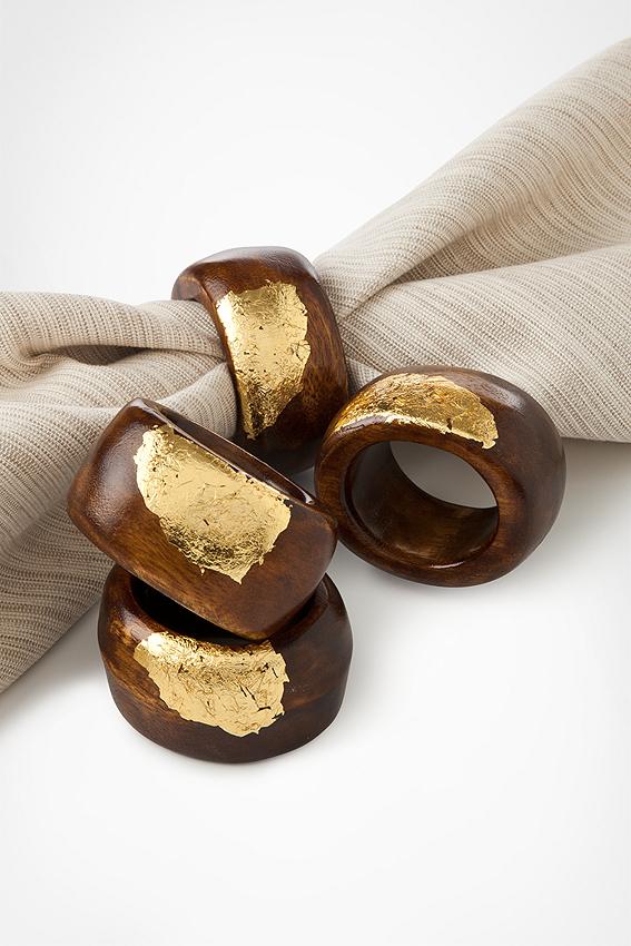 Gold Leaf Wood Napkin Rings