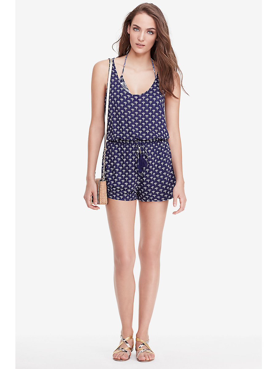 DVF Paxos Printed Jersey Romper in Peace Palm Midnight by DVF