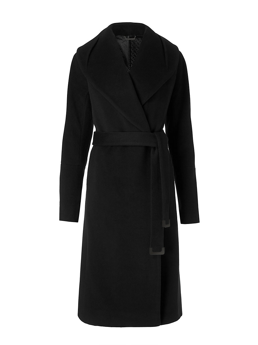 Olive Wool Coat in Black by DVF