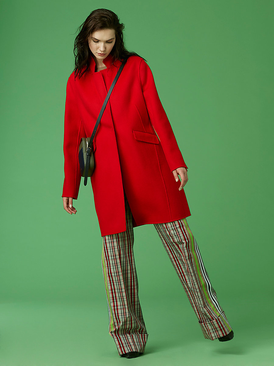 Wool Cocoon Coat in Poppy by DVF