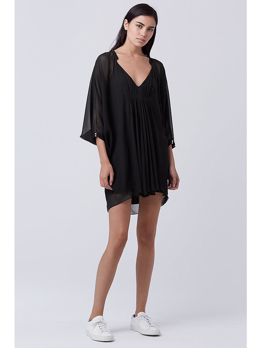Fleurette Silk Chiffon Kaftan Dress in Black by DVF