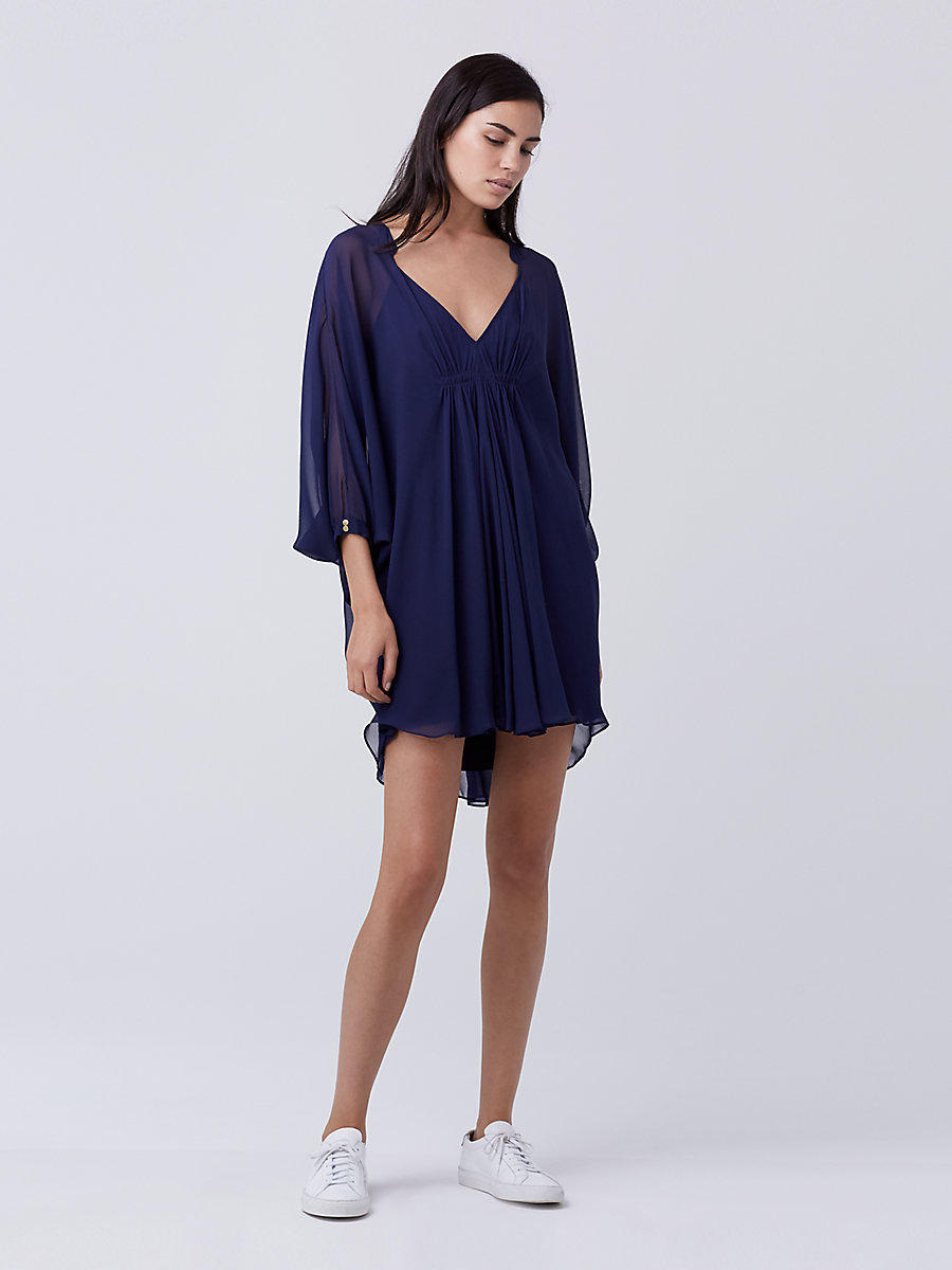 Fleurette Silk Chiffon Kaftan Dress in Midnight by DVF
