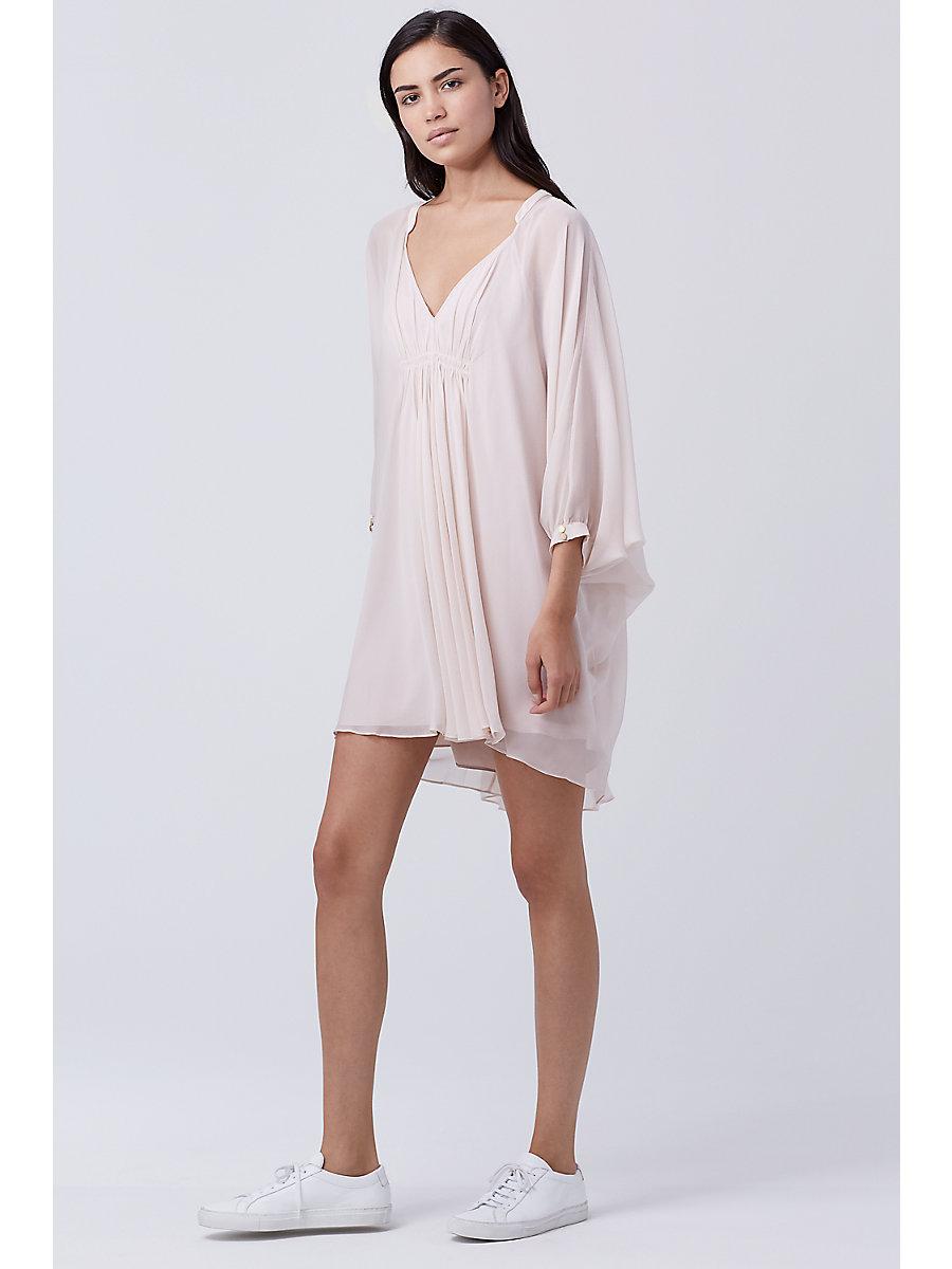 Fleurette Silk Chiffon Kaftan Dress in Nude by DVF