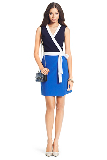 DVF Gracie Colorblock Ceramic Wrap Dress | Dresses by DVF