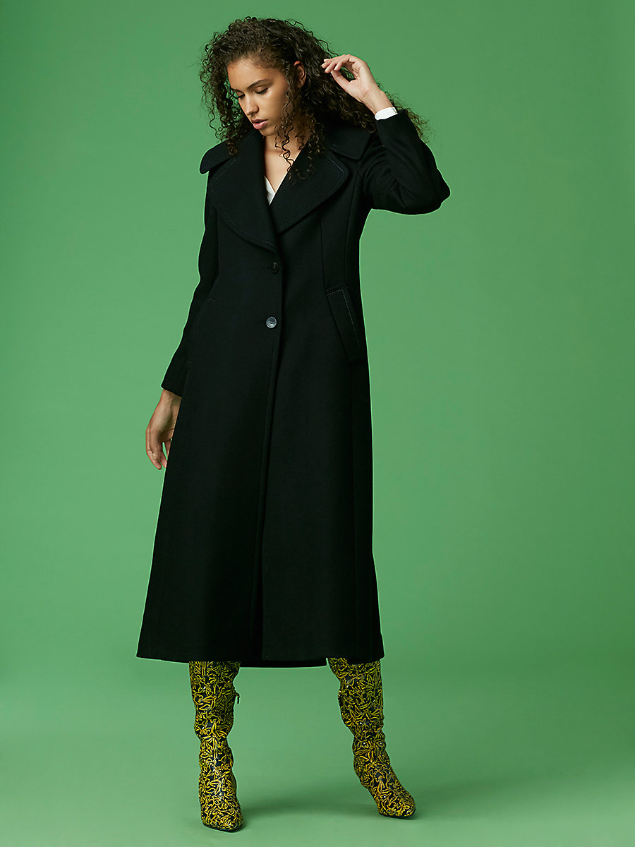 Classic Wool Coat in Black by DVF