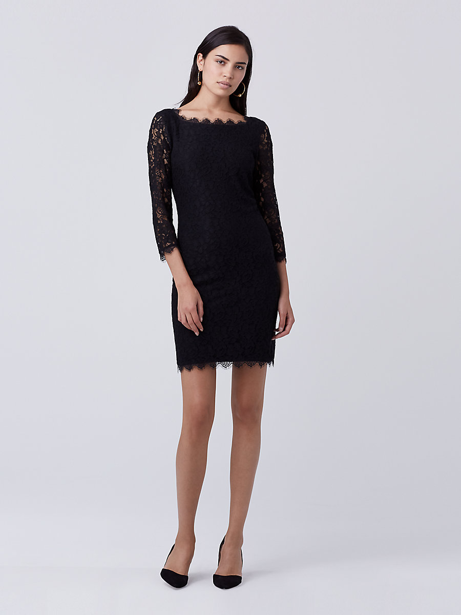 Zarita Lace Dress in Black by DVF