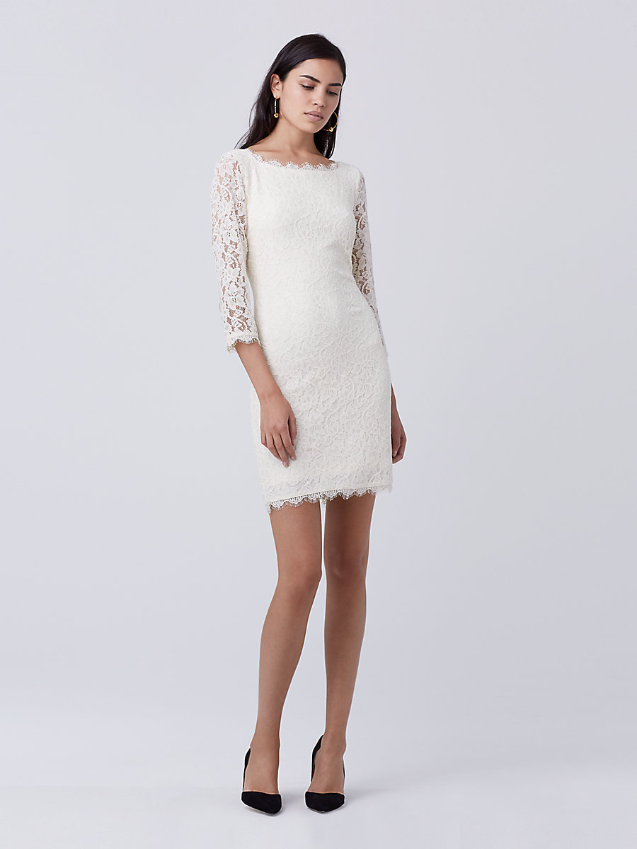 Zarita Lace Dress in Ivory by DVF