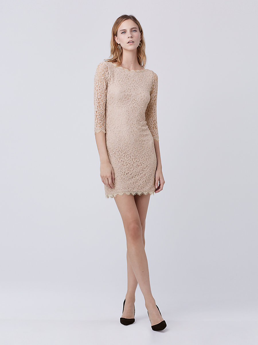 Zarita Lace Dress in Nude by DVF