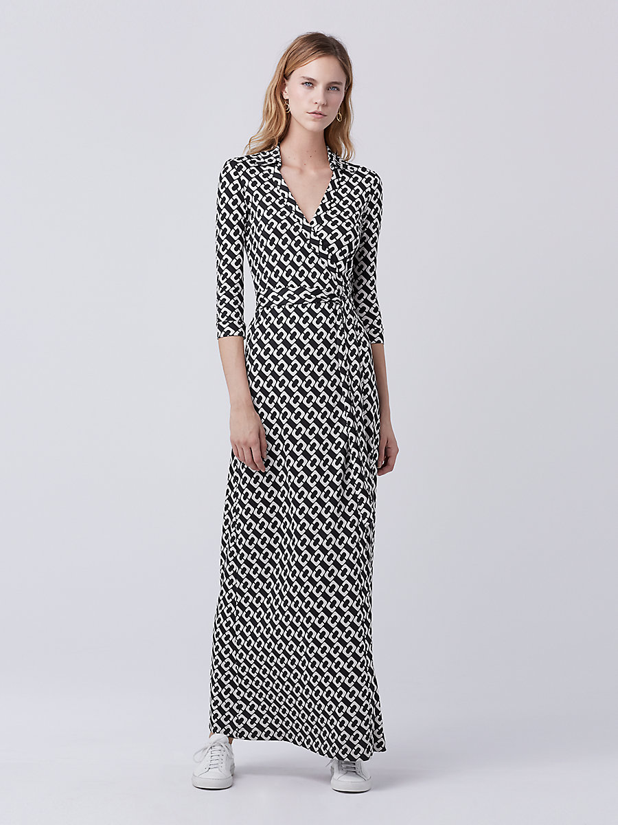 Abigail Maxi Silk Jersey Wrap Dress in Chain Link Medium by DVF