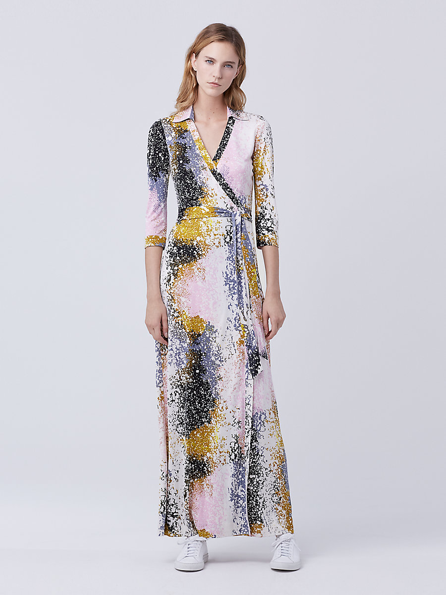 Abigail Maxi Wrap Dress in Stella Fresco Rock by DVF