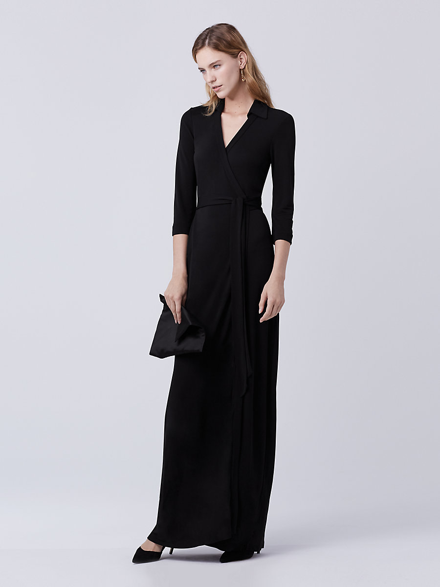 Abigail Maxi Jersey Wrap Dress in Black by DVF