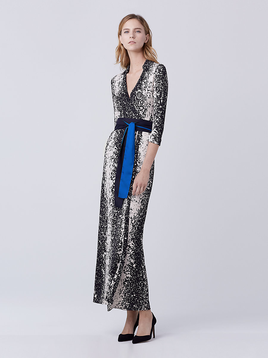 Abigail Silk Jersey Maxi Wrap Dress in Stella Black by DVF