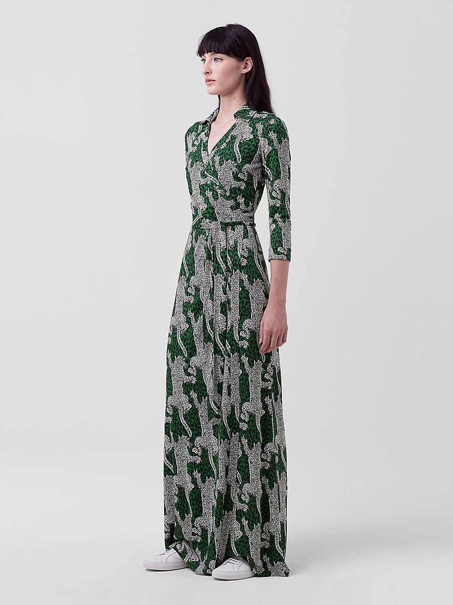 Abigail Silk Jersey Maxi Wrap Dress in Climbing Leopard Green Envy by DVF