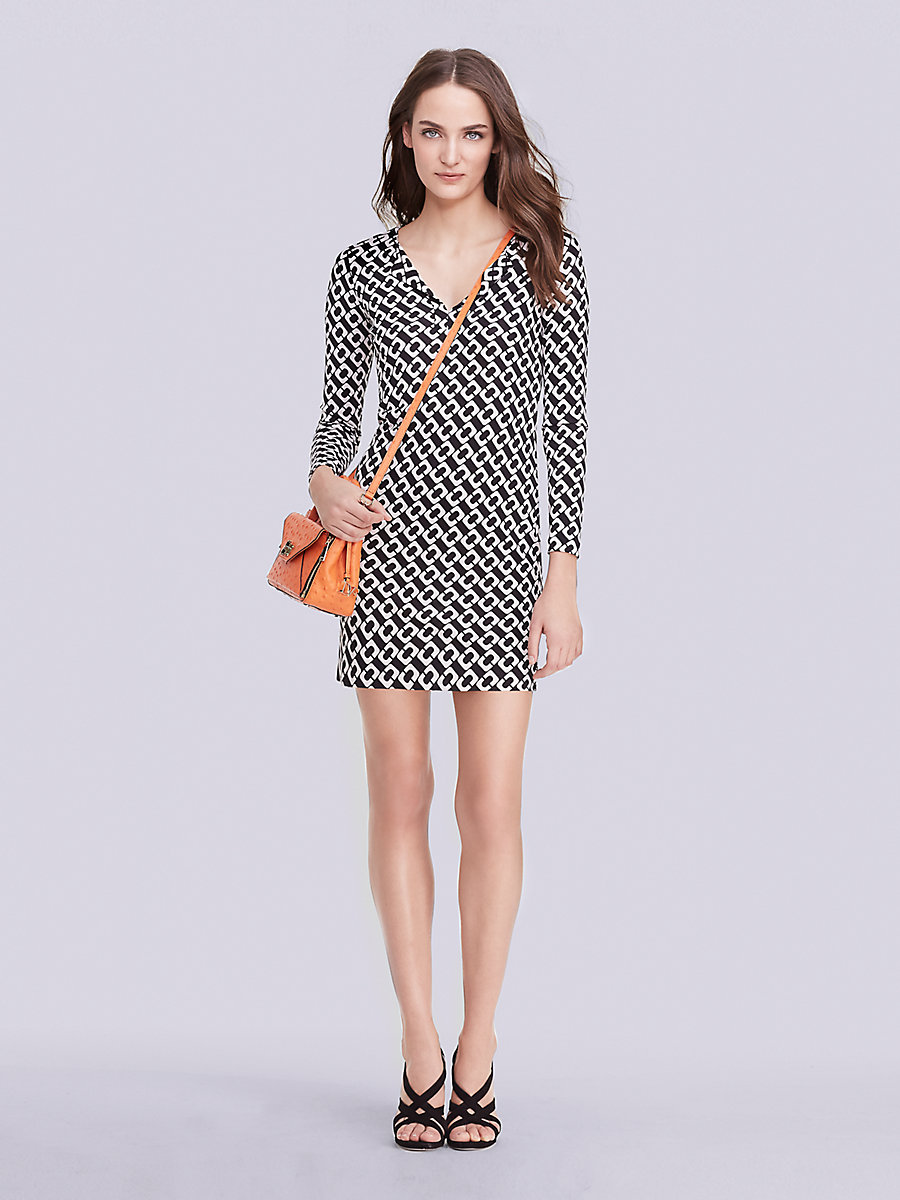 Reina Long Sleeve Silk Jersey Dress in Chain Link Medium by DVF