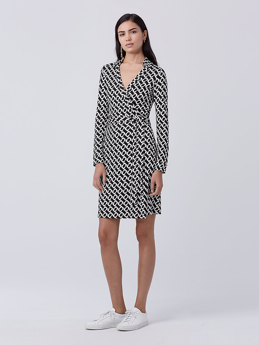 New Jeanne Two Silk Jersey Wrap Dress in Chain Link Medium by DVF