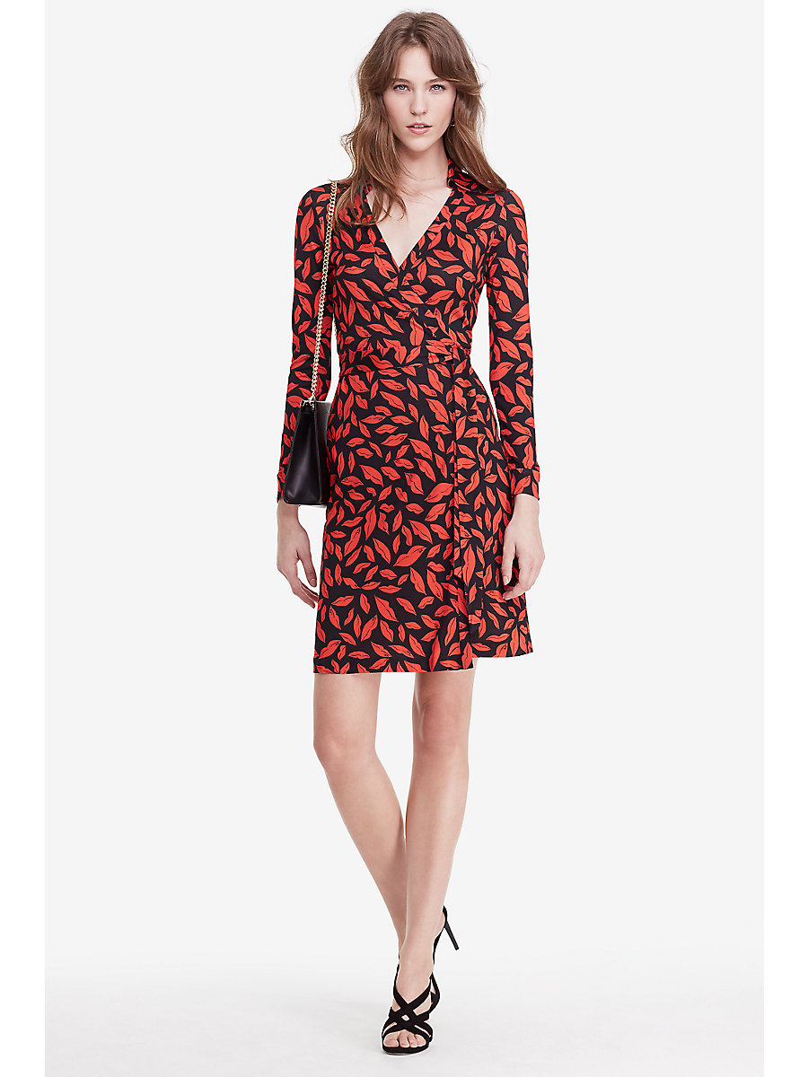 New Jeanne Two Silk Jersey Wrap Dress in Midnight Kiss by DVF