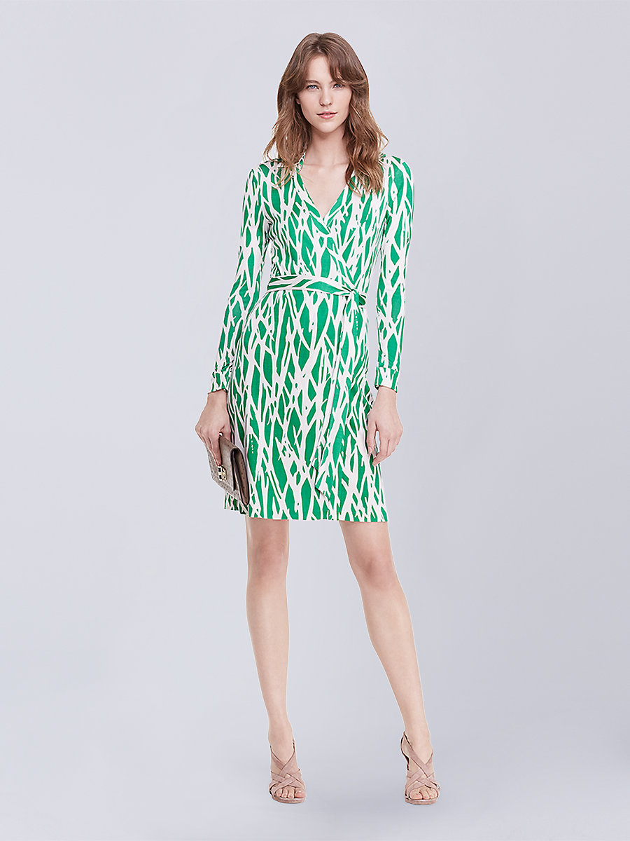 New Jeanne Two Silk Jersey Wrap Dress in Twigs Large Green by DVF