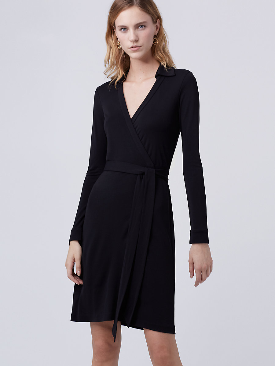 New Jeanne Two Matte Jersey Wrap Dress in Black by DVF